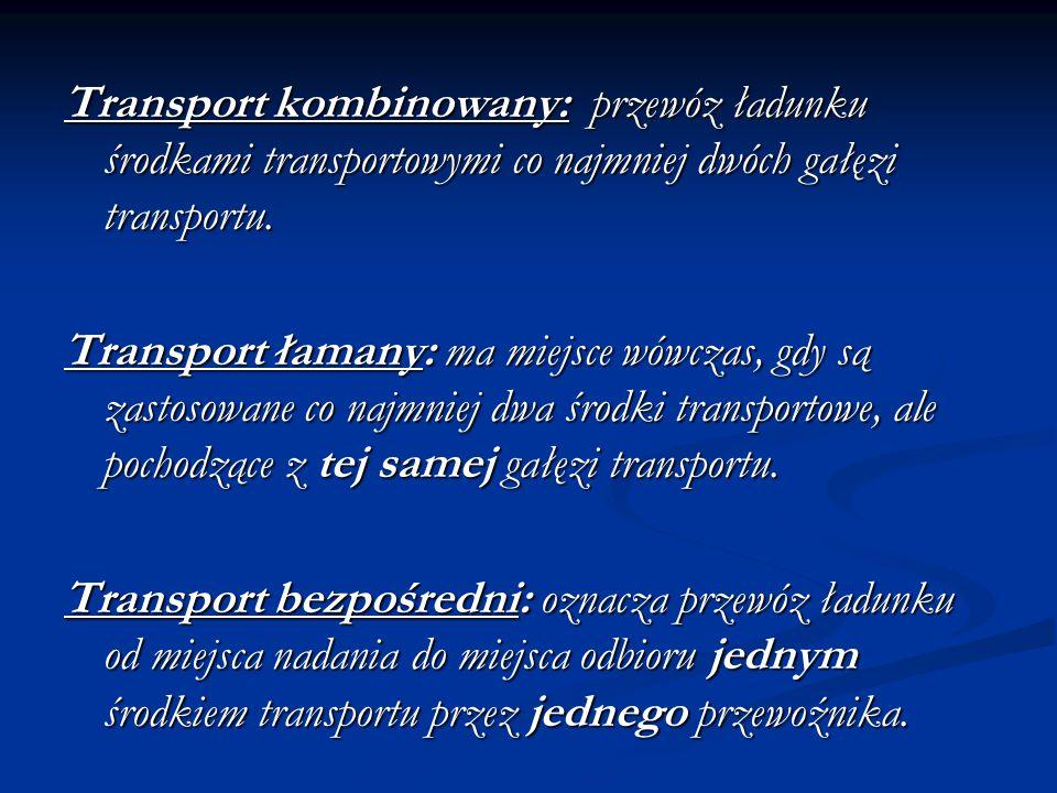 Transport kombinowany: przewóz ładunku środkami transportowymi co najmniej dwóch gałęzi transportu.