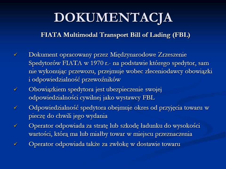 DOKUMENTACJA FIATA Multimodal Transport Bill of Lading (FBL)