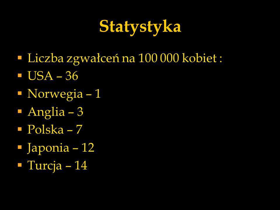 Statystyka Liczba zgwałceń na 100 000 kobiet : USA – 36 Norwegia – 1