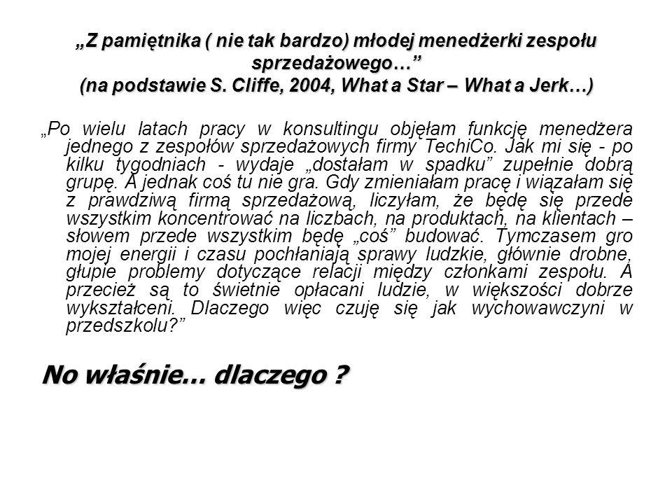"""""""Z pamiętnika ( nie tak bardzo) młodej menedżerki zespołu sprzedażowego… (na podstawie S. Cliffe, 2004, What a Star – What a Jerk…)"""