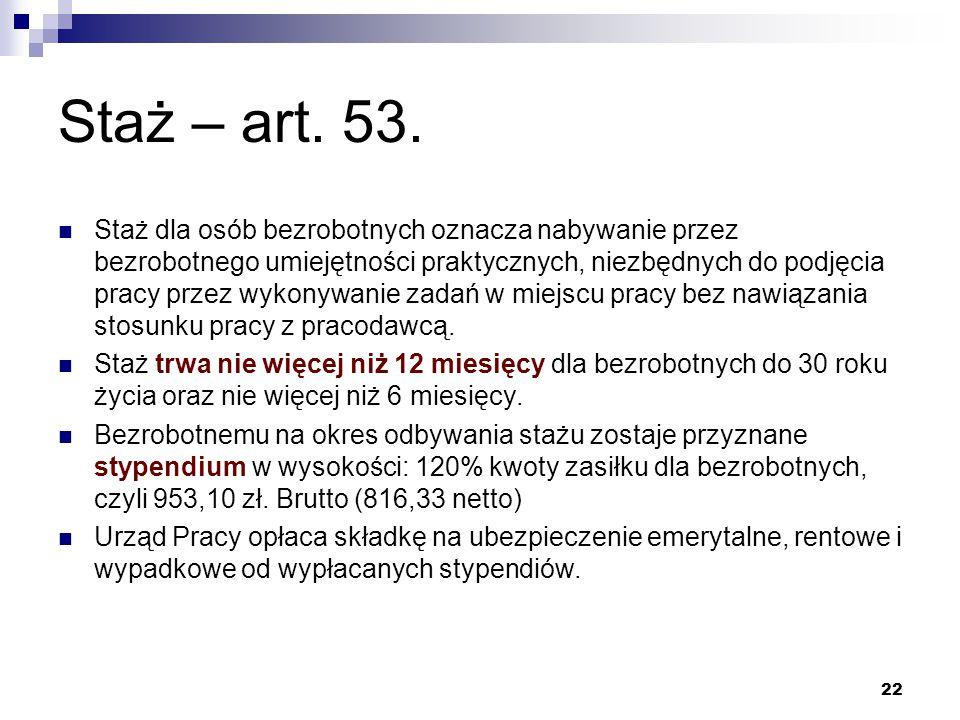 Staż – art. 53.