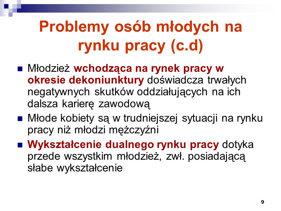 Problemy osób młodych na rynku pracy (c.d)