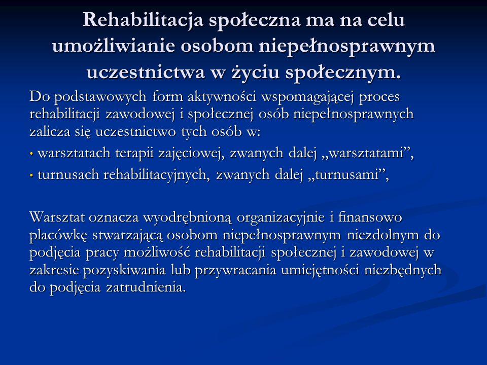 Rehabilitacja społeczna ma na celu umożliwianie osobom niepełnosprawnym uczestnictwa w życiu społecznym.