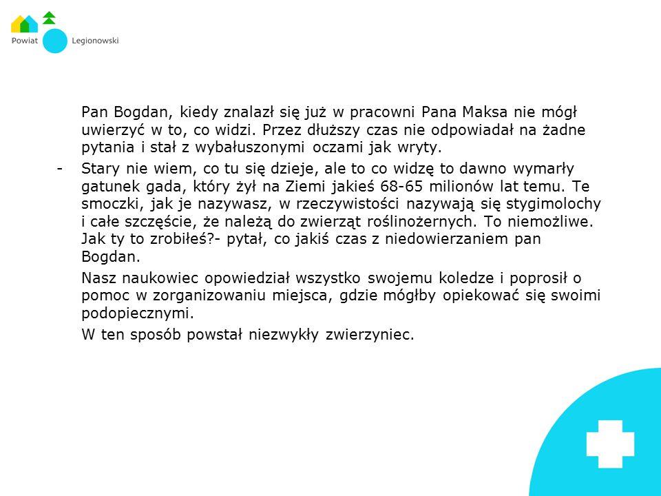 Pan Bogdan, kiedy znalazł się już w pracowni Pana Maksa nie mógł uwierzyć w to, co widzi. Przez dłuższy czas nie odpowiadał na żadne pytania i stał z wybałuszonymi oczami jak wryty.