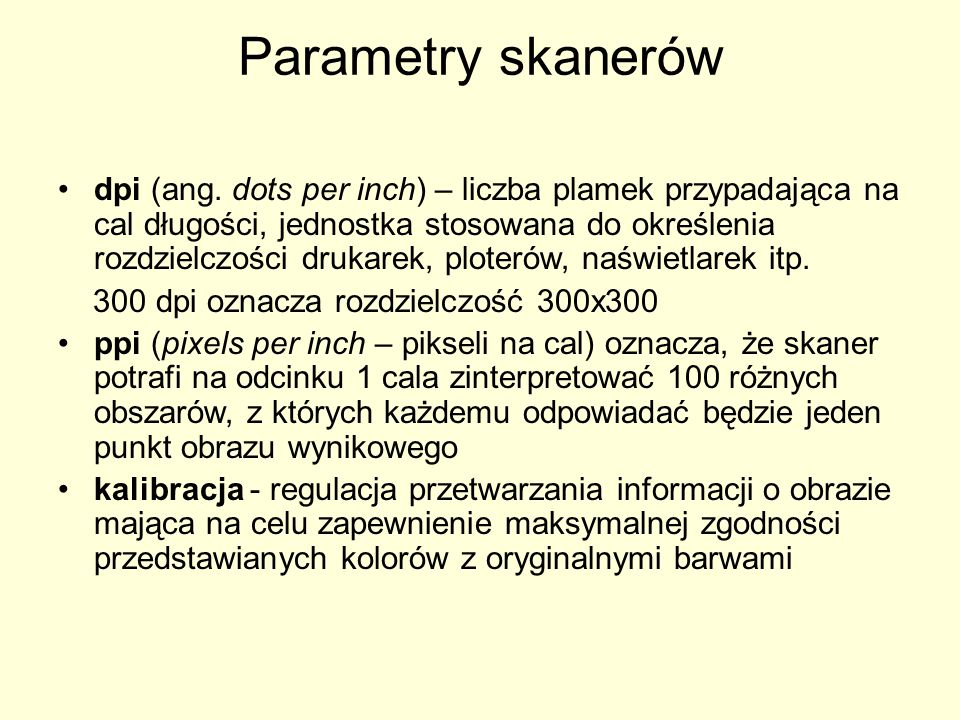 Parametry skanerów