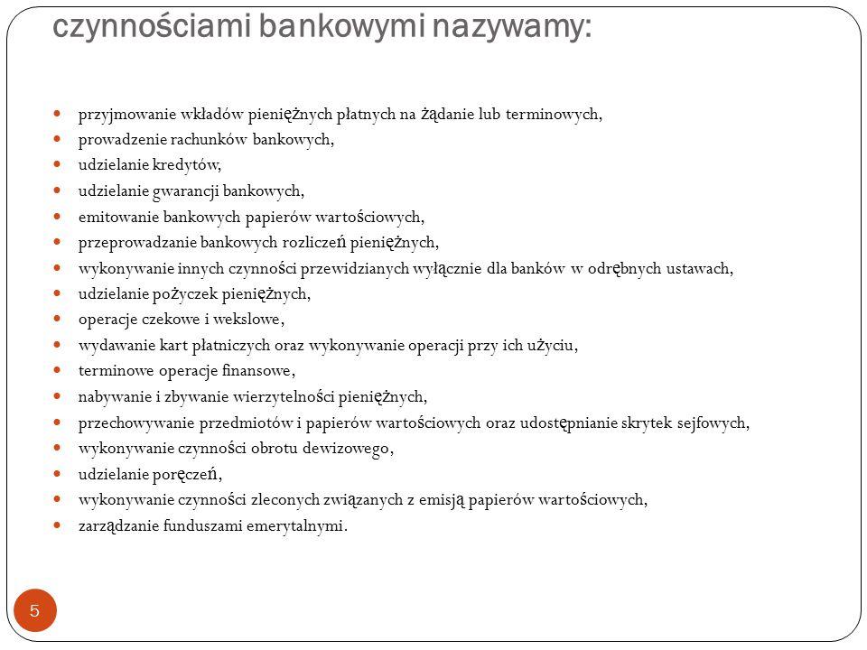czynnościami bankowymi nazywamy: