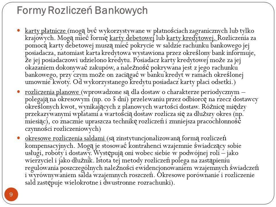 Formy Rozliczeń Bankowych