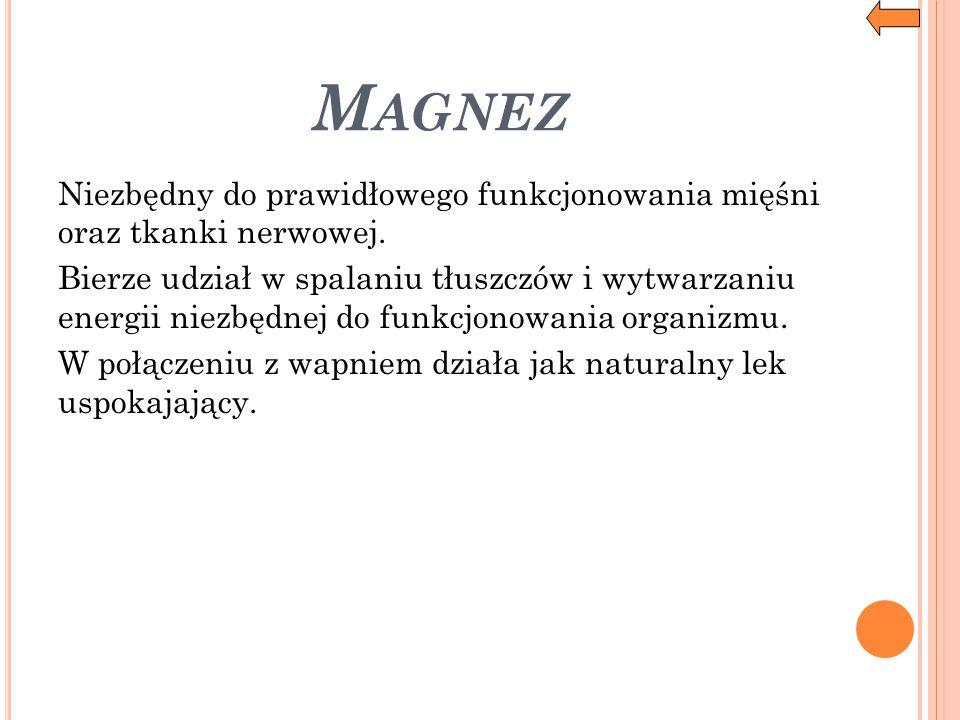 Magnez Niezbędny do prawidłowego funkcjonowania mięśni oraz tkanki nerwowej.