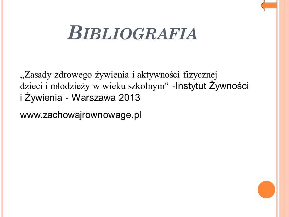 """Bibliografia """"Zasady zdrowego żywienia i aktywności fizycznej dzieci i młodzieży w wieku szkolnym -Instytut Żywności i Żywienia - Warszawa 2013."""