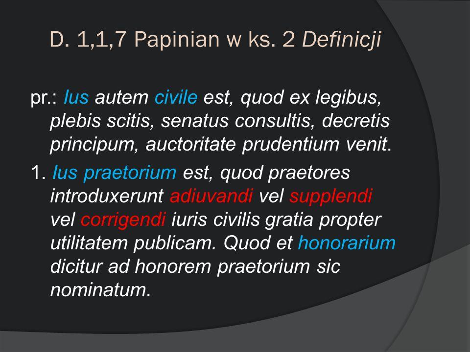 D. 1,1,7 Papinian w ks. 2 Definicji