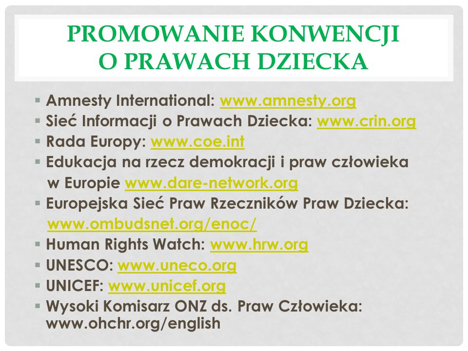 Promowanie Konwencji o prawach Dziecka