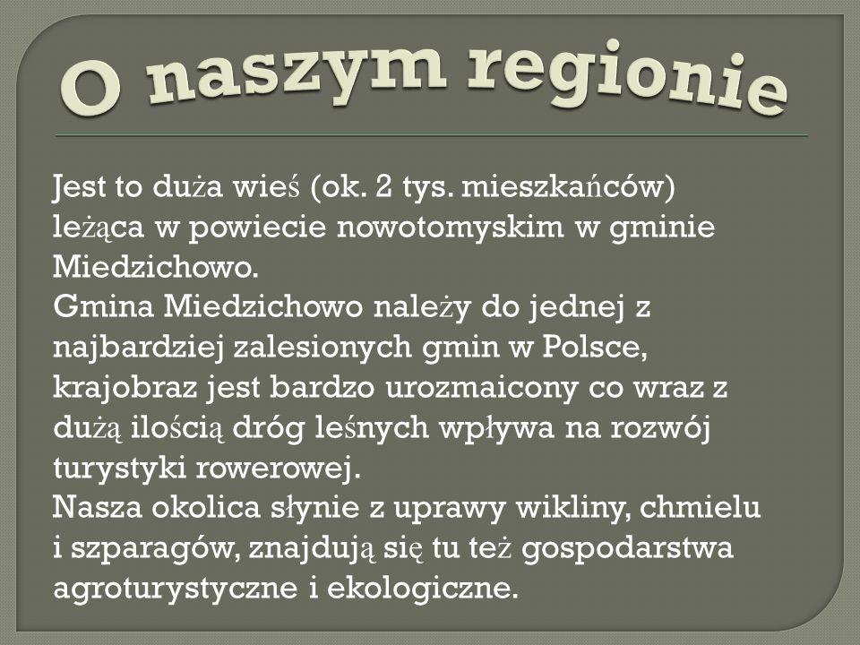 O naszym regionie Jest to duża wieś (ok. 2 tys. mieszkańców) leżąca w powiecie nowotomyskim w gminie Miedzichowo.