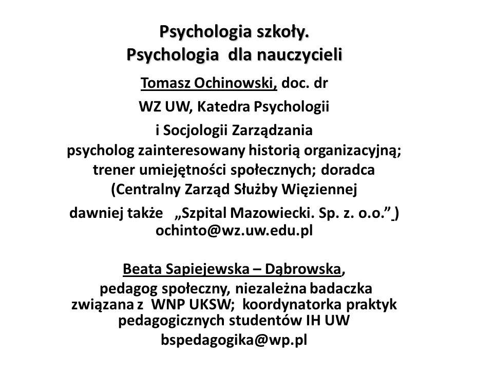Psychologia szkoły. Psychologia dla nauczycieli