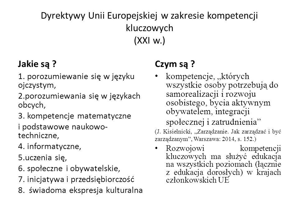 Dyrektywy Unii Europejskiej w zakresie kompetencji kluczowych (XXI w.)