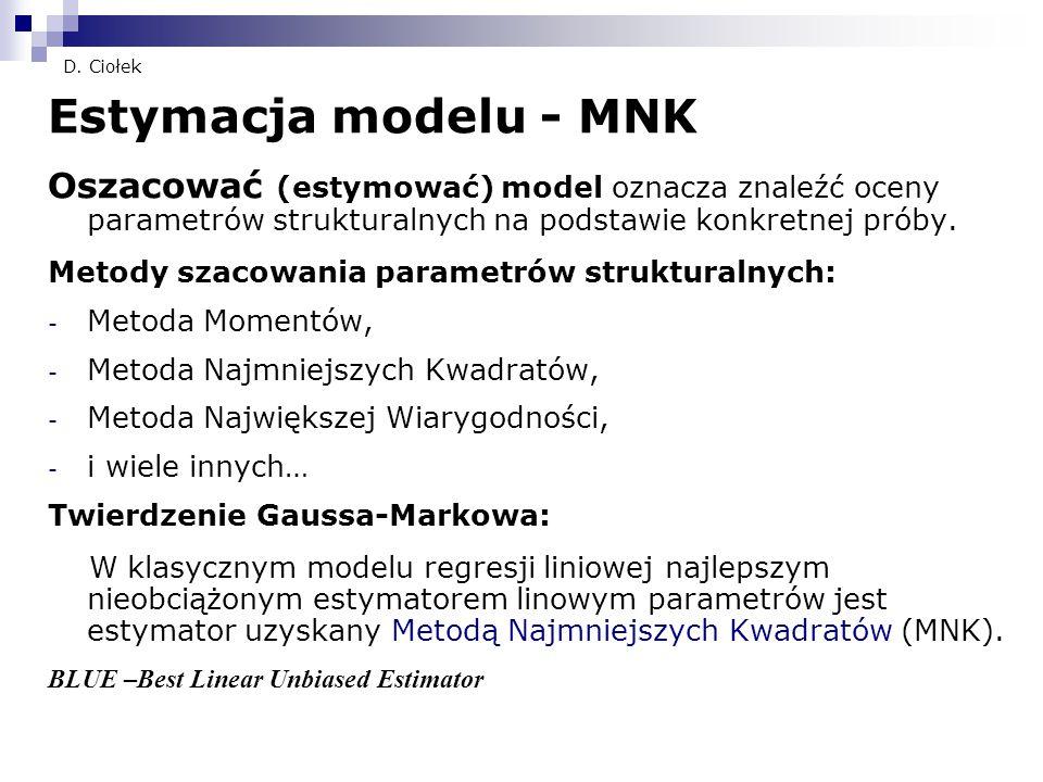 D. Ciołek Estymacja modelu - MNK. Oszacować (estymować) model oznacza znaleźć oceny parametrów strukturalnych na podstawie konkretnej próby.