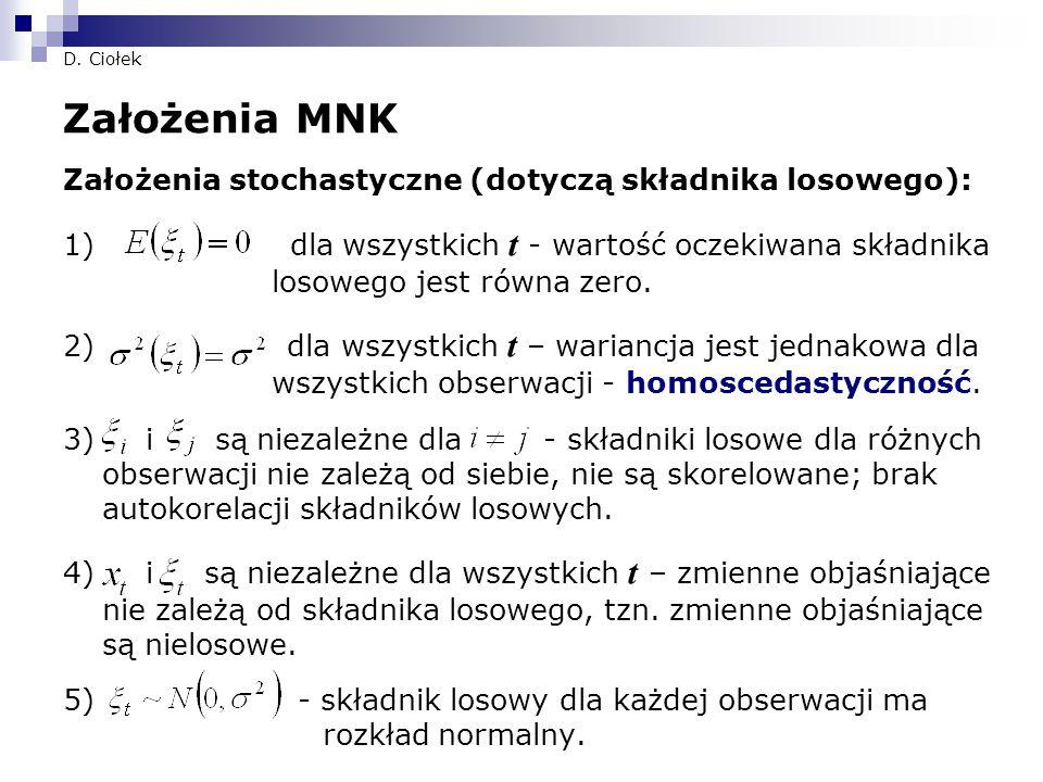 Założenia MNK Założenia stochastyczne (dotyczą składnika losowego):