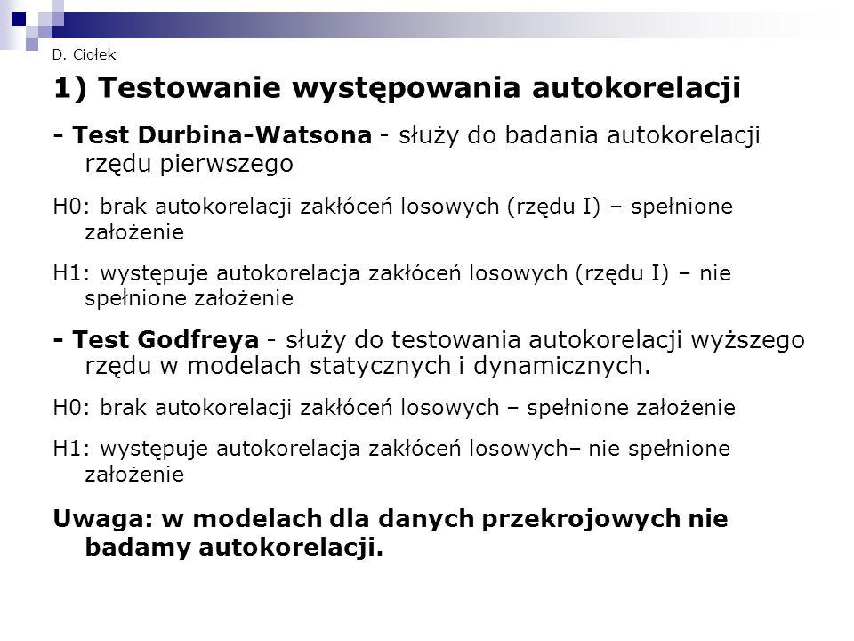 1) Testowanie występowania autokorelacji
