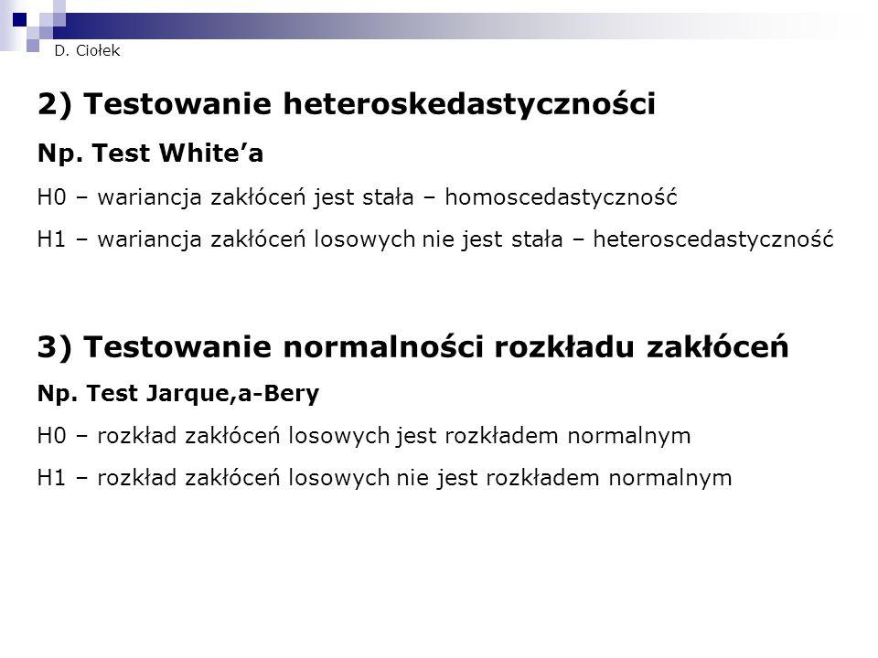 2) Testowanie heteroskedastyczności