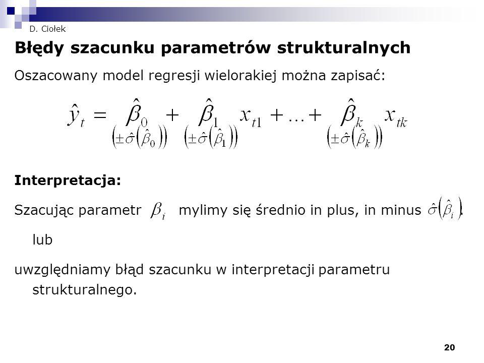 Błędy szacunku parametrów strukturalnych
