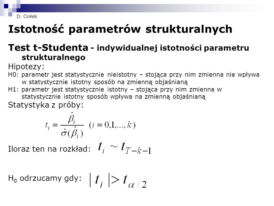 Istotność parametrów strukturalnych