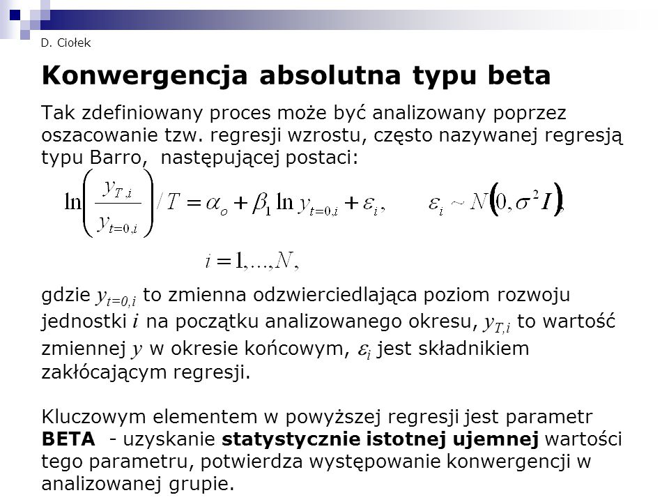 Konwergencja absolutna typu beta