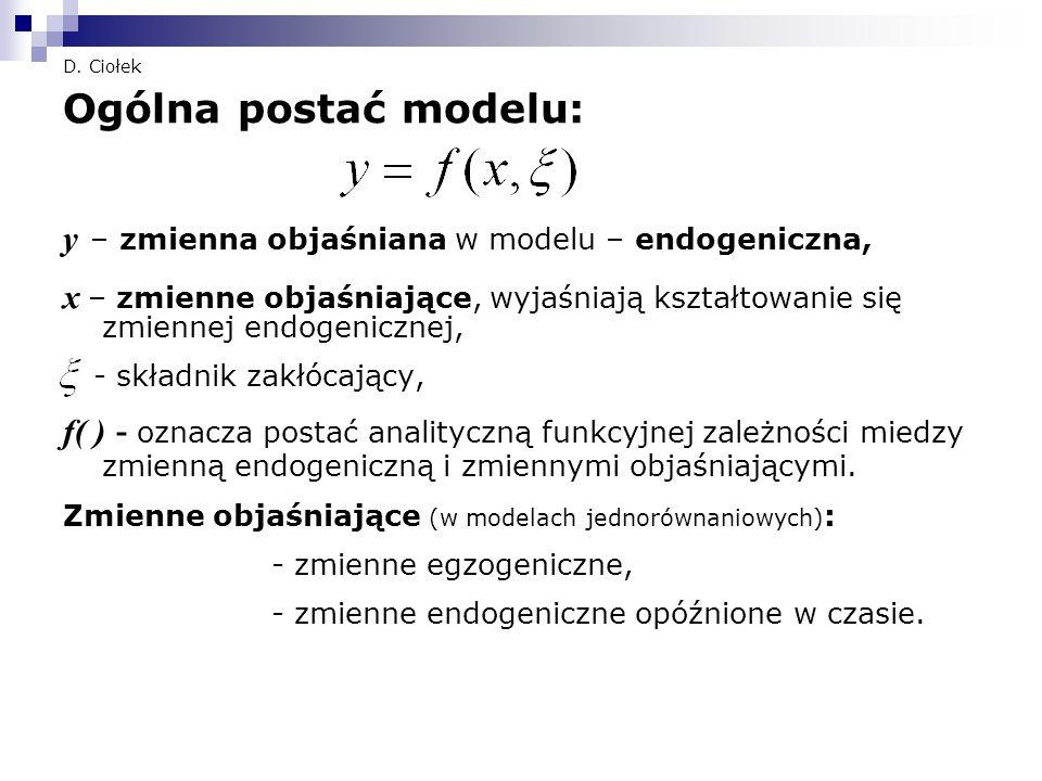 Ogólna postać modelu: y – zmienna objaśniana w modelu – endogeniczna,