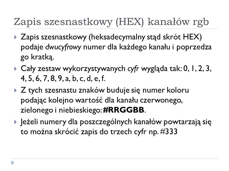 Zapis szesnastkowy (HEX) kanałów rgb