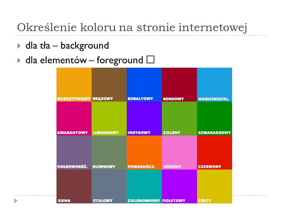 Określenie koloru na stronie internetowej