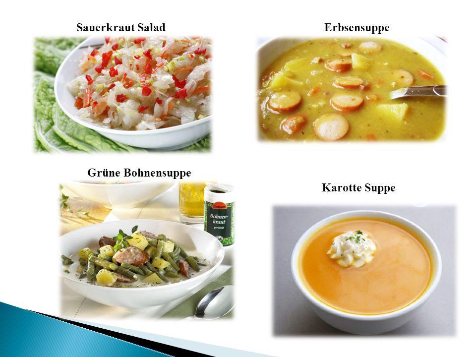 Sauerkraut Salad Erbsensuppe Grüne Bohnensuppe Karotte Suppe