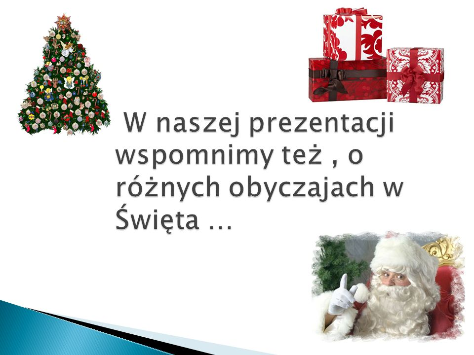 W naszej prezentacji wspomnimy też , o różnych obyczajach w Święta …