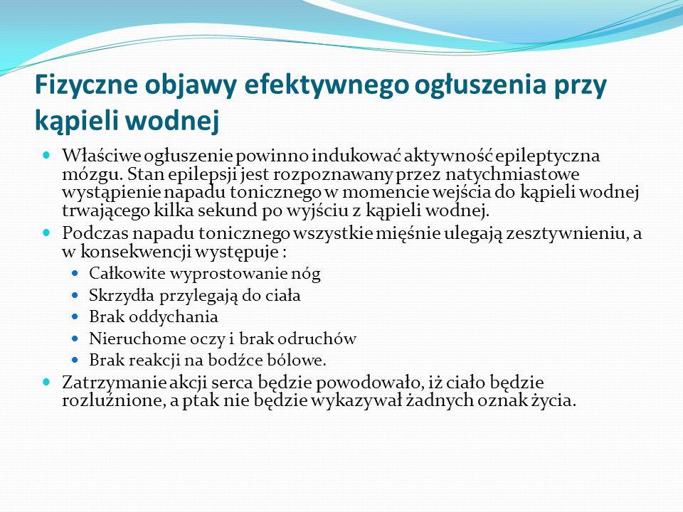 Fizyczne objawy efektywnego ogłuszenia przy kąpieli wodnej