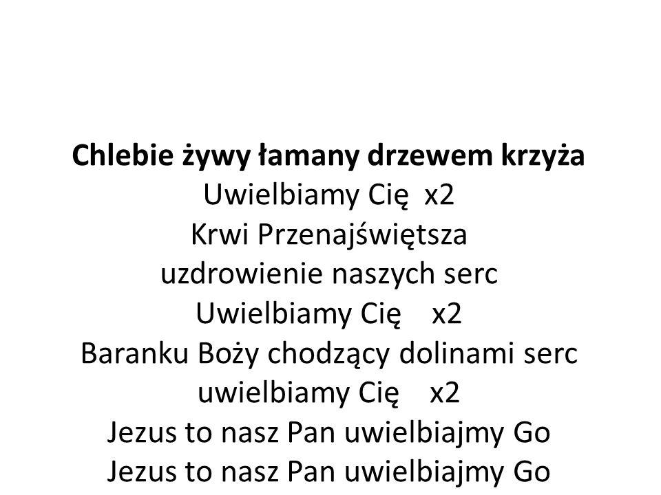 Chlebie żywy łamany drzewem krzyża Uwielbiamy Cię x2 Krwi Przenajświętsza uzdrowienie naszych serc Uwielbiamy Cię x2 Baranku Boży chodzący dolinami serc uwielbiamy Cię x2 Jezus to nasz Pan uwielbiajmy Go Jezus to nasz Pan uwielbiajmy Go