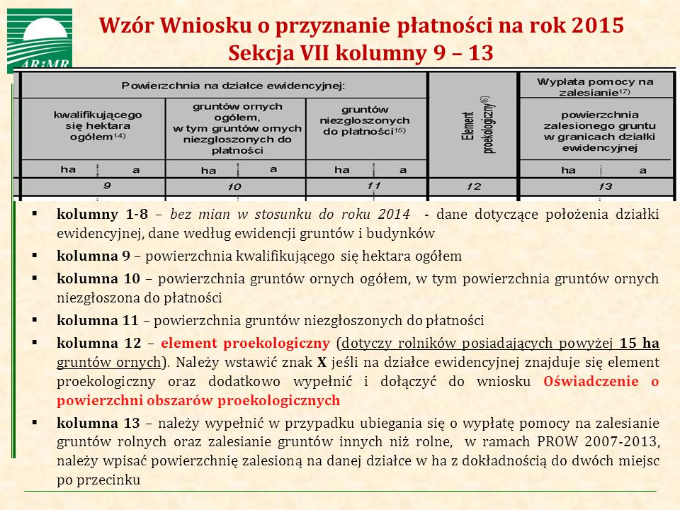 Wzór Wniosku o przyznanie płatności na rok 2015 Sekcja VII kolumny 9 – 13