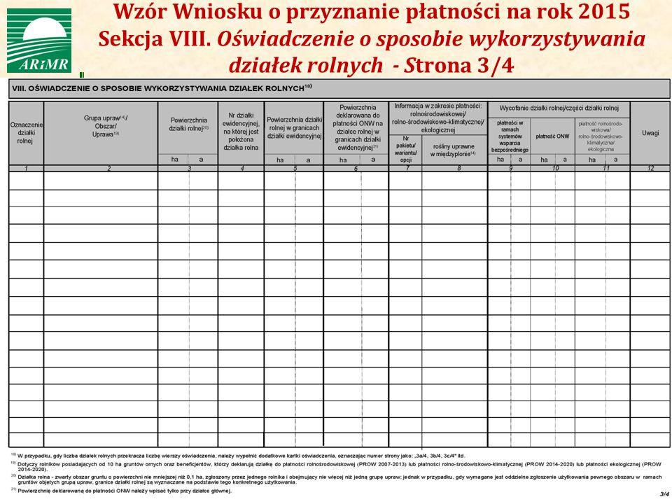 Wzór Wniosku o przyznanie płatności na rok 2015 Sekcja VIII