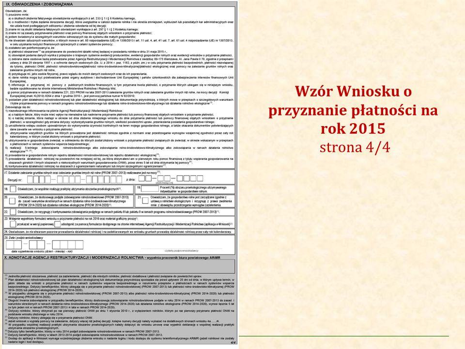 Wzór Wniosku o przyznanie płatności na rok 2015 strona 4/4