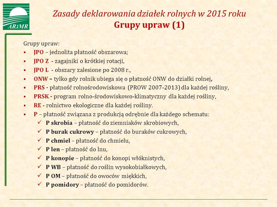 Zasady deklarowania działek rolnych w 2015 roku Grupy upraw (1)