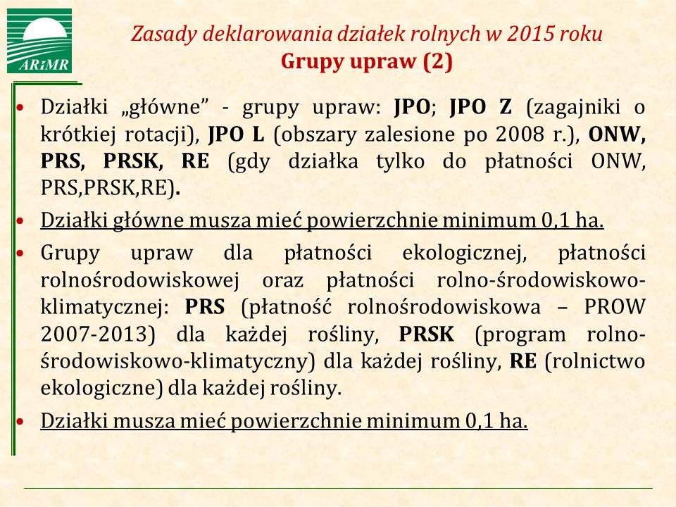Zasady deklarowania działek rolnych w 2015 roku Grupy upraw (2)