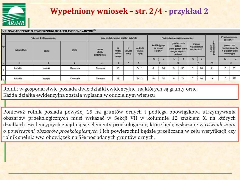 Wypełniony wniosek – str. 2/4 - przykład 2