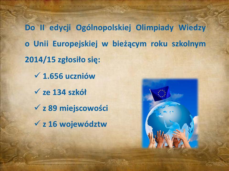 Do II edycji Ogólnopolskiej Olimpiady Wiedzy o Unii Europejskiej w bieżącym roku szkolnym 2014/15 zgłosiło się:
