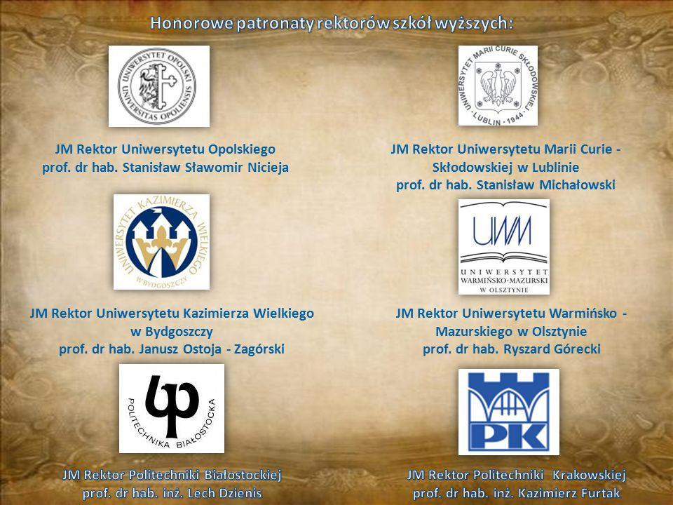 Honorowe patronaty rektorów szkół wyższych:
