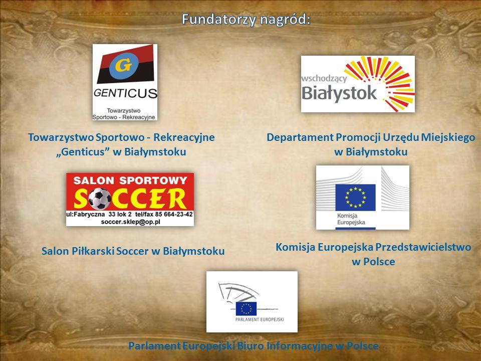 """Fundatorzy nagród: Towarzystwo Sportowo - Rekreacyjne """"Genticus w Białymstoku. Departament Promocji Urzędu Miejskiego w Białymstoku."""