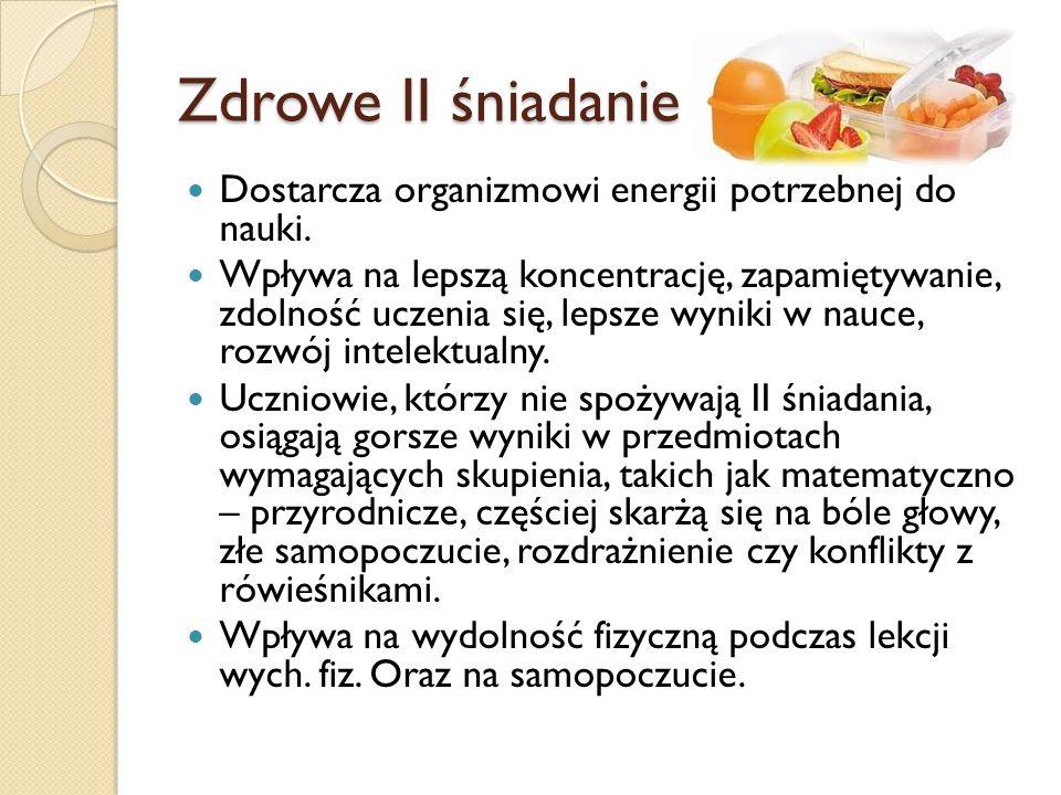 Zdrowe II śniadanie Dostarcza organizmowi energii potrzebnej do nauki.