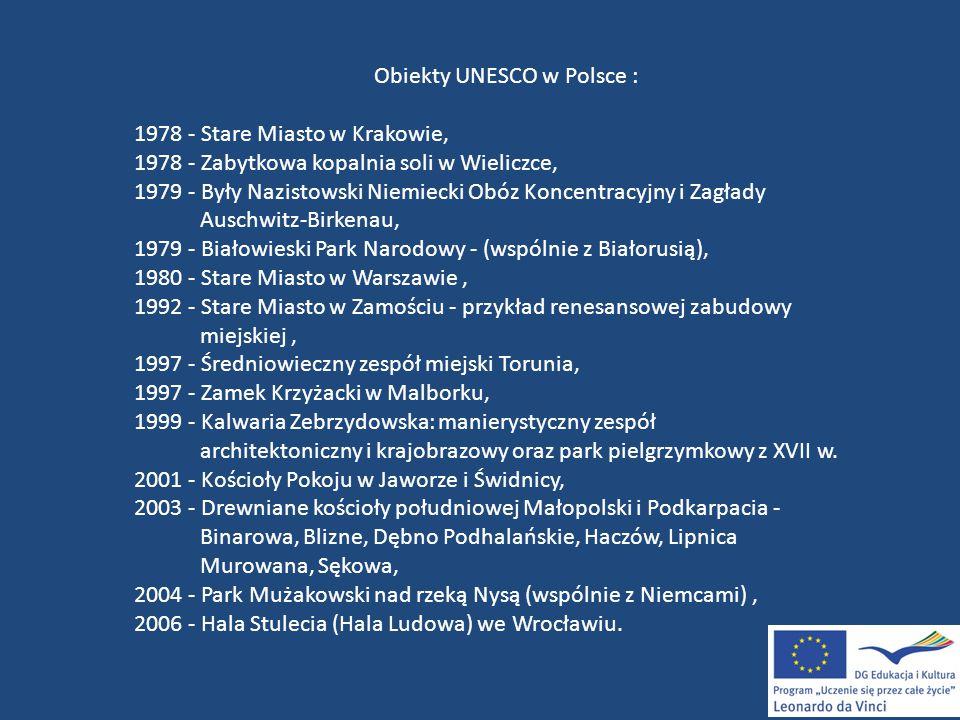 Obiekty UNESCO w Polsce :