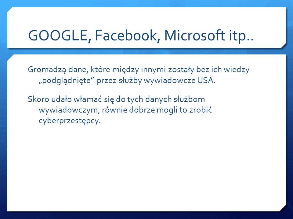 GOOGLE, Facebook, Microsoft itp..