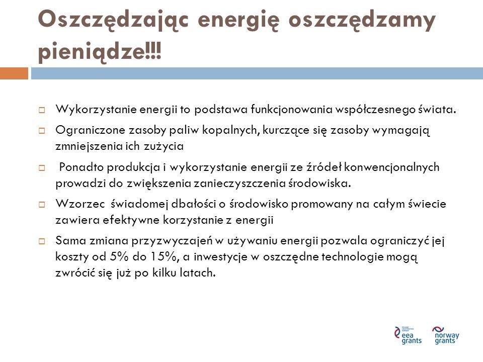 Oszczędzając energię oszczędzamy pieniądze!!!