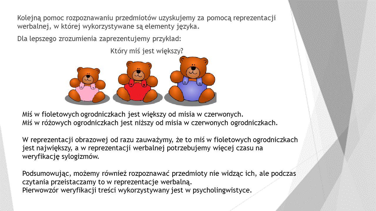 Kolejną pomoc rozpoznawaniu przedmiotów uzyskujemy za pomocą reprezentacji werbalnej, w której wykorzystywane są elementy języka. Dla lepszego zrozumienia zaprezentujemy przykład: Który miś jest większy