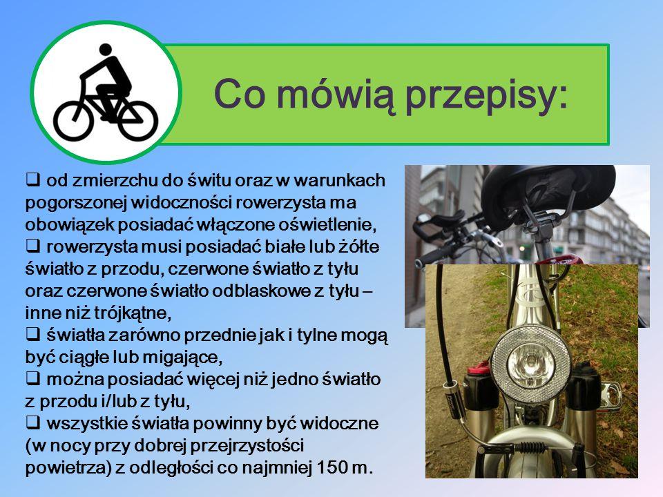 Co mówią przepisy: od zmierzchu do świtu oraz w warunkach pogorszonej widoczności rowerzysta ma obowiązek posiadać włączone oświetlenie,
