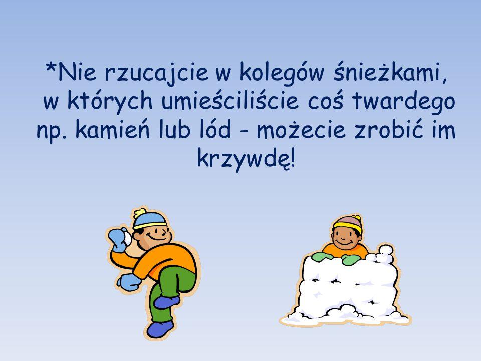 *Nie rzucajcie w kolegów śnieżkami,