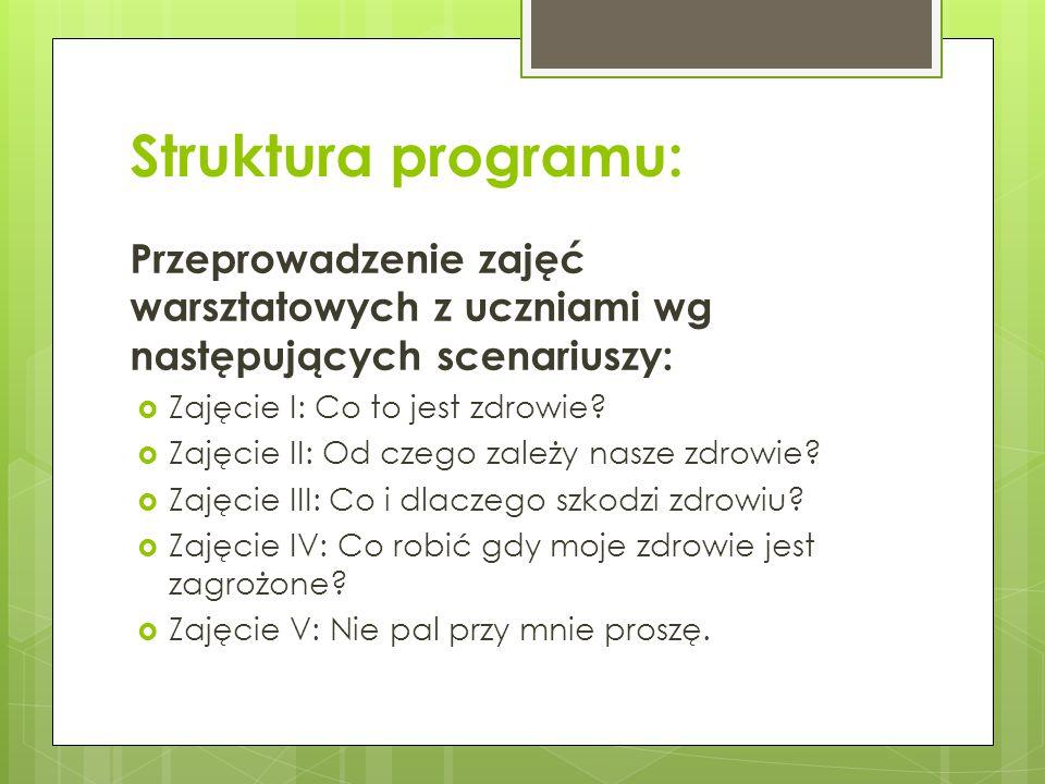 Struktura programu: Przeprowadzenie zajęć warsztatowych z uczniami wg następujących scenariuszy: Zajęcie I: Co to jest zdrowie
