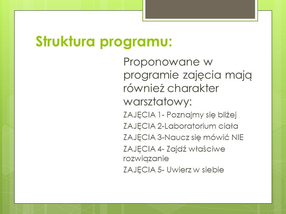 Struktura programu: Proponowane w programie zajęcia mają również charakter warsztatowy: ZAJĘCIA 1- Poznajmy się bliżej.